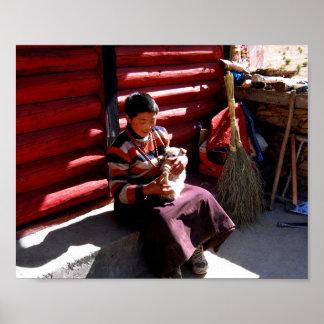 Tibetanischer Junge Poster