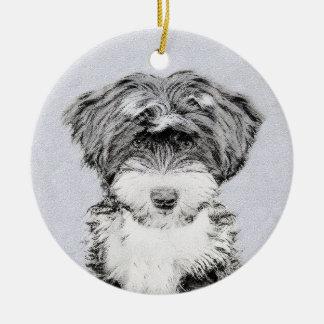 Tibetanisches Terrier Rundes Keramik Ornament