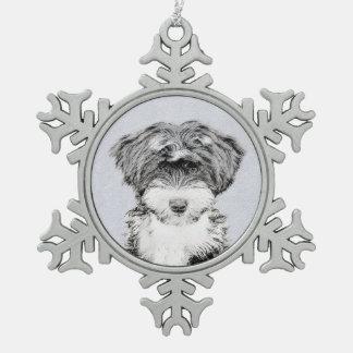 Tibetanisches Terrier Schneeflocken Zinn-Ornament