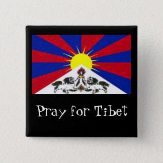 tibetflag, beten für Tibet Quadratischer Button 5,1 Cm