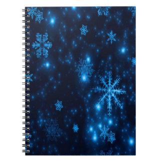Tiefes blaue u. helle Schneeflocke-gewundenes Spiral Notizblock