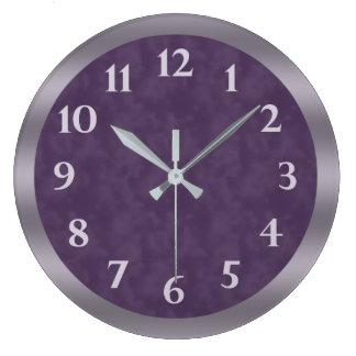 Tiefpurpurnes Lavendel-Grau Große Wanduhr