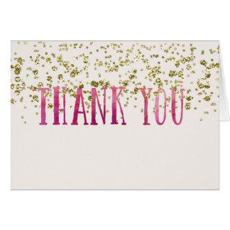Tiefrosa und Imitat-Gold danken Ihnen Mitteilungskarte