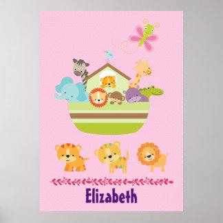 Tier-Arche auf rosa Polka-Punkt-Kinderzimmer-Art Poster