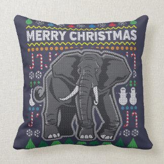 Tier-Elefant-frohe Weihnacht-hässliche Strickjacke Kissen