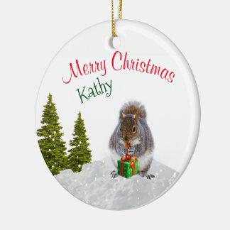 Tier-Verzierung/Weihnachtseichhörnchen Rundes Keramik Ornament