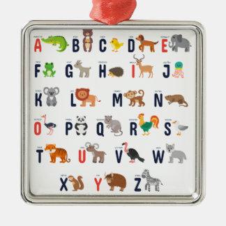 TierABCs - Alphabet Silbernes Ornament