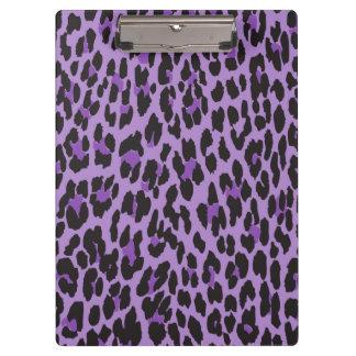 Tierdruck, gepunkteter Leopard - lila Schwarzes Klemmbrett
