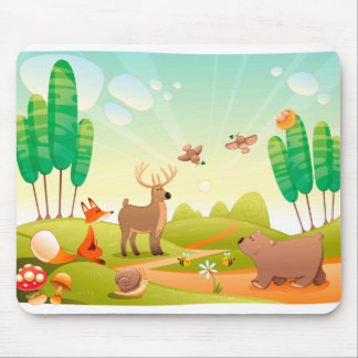 Tiere im Holz Mousepad