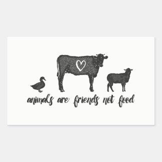 Tiere sind Nahrung 2 der Freunde nicht Rechteckiger Aufkleber