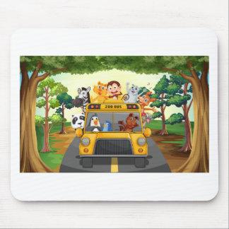 Tiere und Bus Mauspad