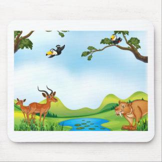 Tiere und Teich Mauspad