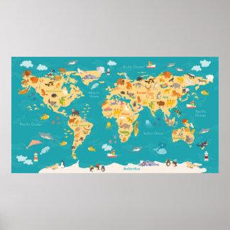 Tierkarte der Welt für Kinder Poster