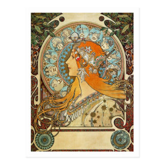 Tierkreis durch Alphonse Mucha Postkarte