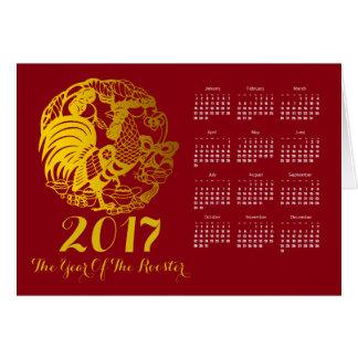 Tierkreis-Hahn-Jahr-Kalender-Gruß 2017 Karte