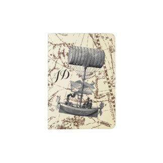 Tierkreis-Himmel Steampunk Luft-Boot mit Initialen Passhülle