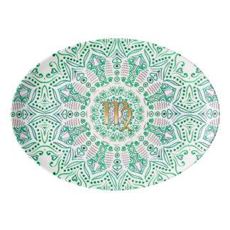 Tierkreis-Zeichen-Jungfrau-Grün-Mandala Porzellan Servierplatte
