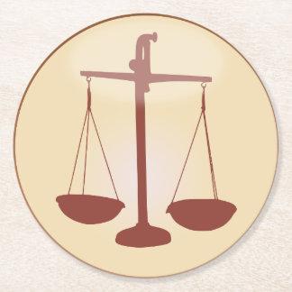 Tierkreis-Zeichen-Skala-Symbol für Waage-Horoskop Runder Pappuntersetzer