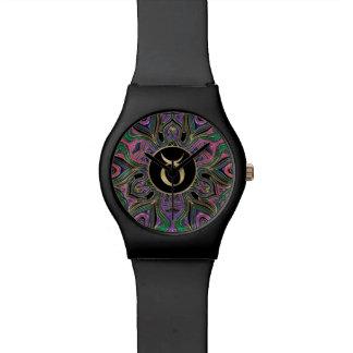 Tierkreis-Zeichen-Stier-Mandala Uhr