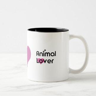 Tierliebhaber-Herz-Tasse Zweifarbige Tasse