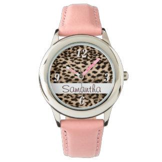 Tiermuster, Braun, Rosa, Monogramm Armbanduhr
