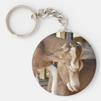 Tiermutter-und Baby-Ziege Standard Runder Schlüsselanhänger