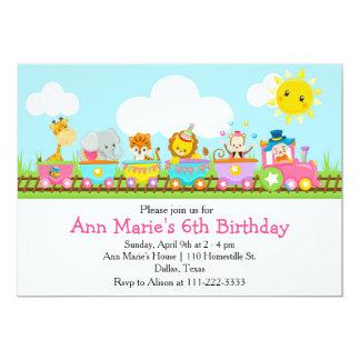 Tierzirkus-Zug-Kindergeburtstag im Rosa 12,7 X 17,8 Cm Einladungskarte