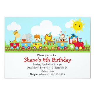 Tierzirkus-Zug-Kindergeburtstag im Rot 12,7 X 17,8 Cm Einladungskarte