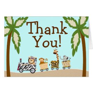Tierzug-Babyparty danken Ihnen Notecard Karte