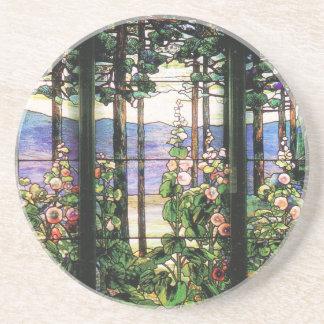 Tiffany-Buntglas-Fensterhollyhocks-Kunst Sandstein Untersetzer