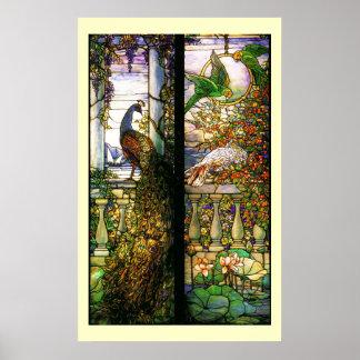 Tiffany-Buntglas-Pfau-Papageien-Druck Poster