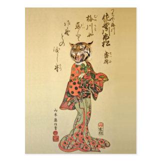 Tiger-Geisha im Blumenkleid Postkarte