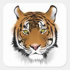 Tiger-Gesichts-Kunst-Aufkleber Quadratischer Aufkleber
