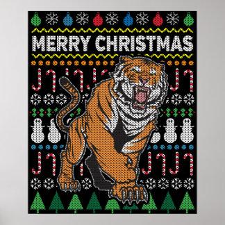 Tiger-hässliche Weihnachtsstrickjacke-Tier-Reihe Poster