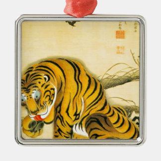 Tiger im Schnee Silbernes Ornament