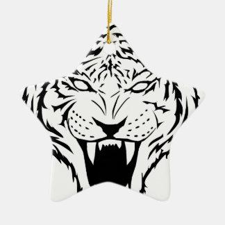 Tiger Keramik Stern-Ornament