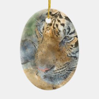 Tiger nah oben im Watercolor Keramik Ornament