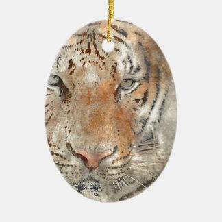 Tiger nah oben im Watercolor Ovales Keramik Ornament