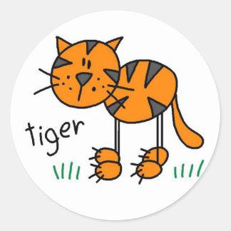 Tiger-Strichmännchen-Aufkleber-Aufkleber Runder Aufkleber