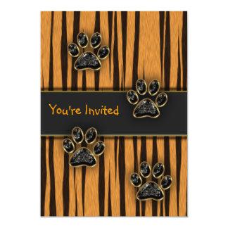 Tiger-Tatzen-Kindergeburtstags-Party 12,7 X 17,8 Cm Einladungskarte