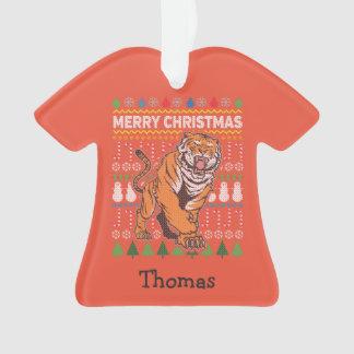 Tiger-Tier-frohe Weihnacht-hässliche Strickjacke Ornament