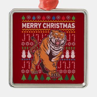 Tiger-Tier-frohe Weihnacht-hässliche Strickjacke Quadratisches Silberfarbenes Ornament
