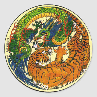 Tiger u. Drache Yin Yang Runder Aufkleber