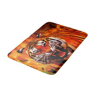 Tiger und Flamme Badematte