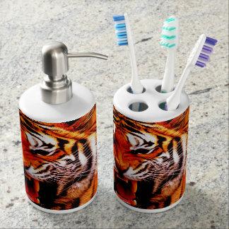 Tiger und Flamme Badezimmer-Set