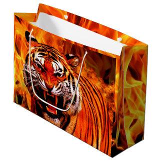 Tiger und Flamme Große Geschenktüte