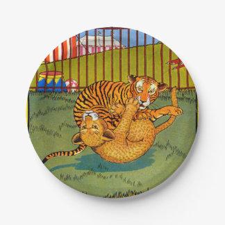 Tiger- und Leopard-Wrestling Pappteller