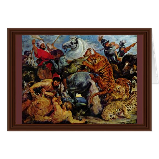 Tiger-und Löwe-Jagd durch Rubens Peter Paul Grußkarte