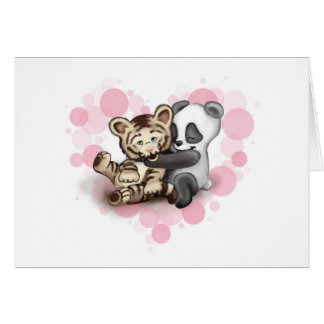 Tiger und Panda Grußkarte