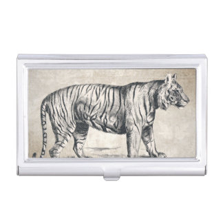 Tiger-Vintager wild lebende TiereGrunge dekorativ Visitenkarten Dose